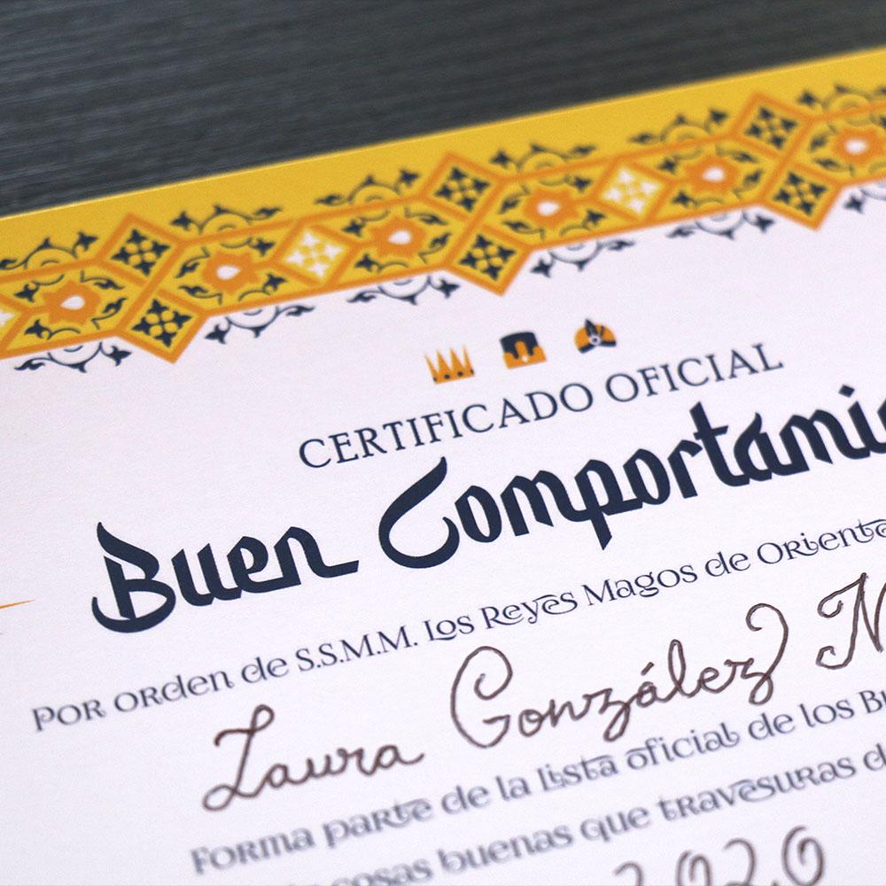 Certificado de Buen Comportamiento de Los Reyes Magos